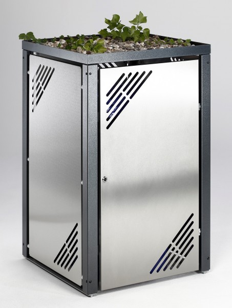 Mülltonnenbox Edelstahl MBS mit Pflanzdach