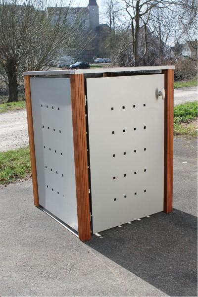 Mülltonnenbox Edelstahl / Bangkirai
