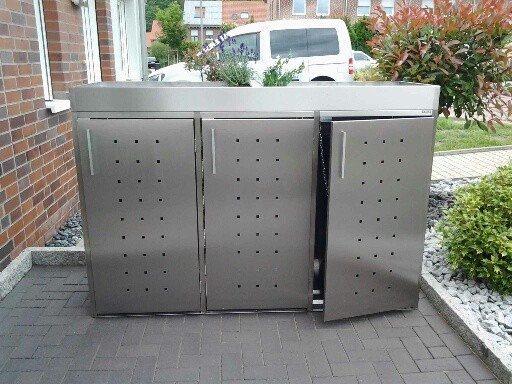 m lltonnenbox inox 3x 120 240 liter m lltonnenboxen aus. Black Bedroom Furniture Sets. Home Design Ideas