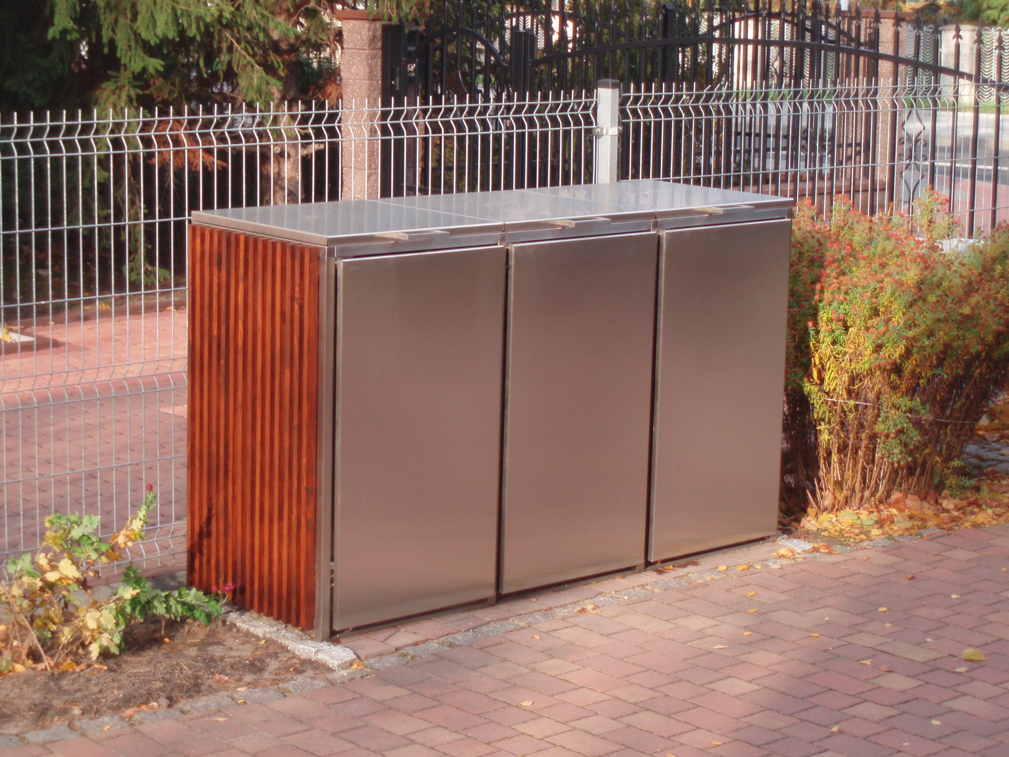 m lltonnenbox edelstahl kombi 1x 120 1x 240 liter. Black Bedroom Furniture Sets. Home Design Ideas