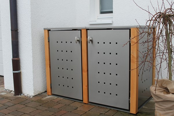 2er m lltonnenbox edelstahl mit l rchepfosten. Black Bedroom Furniture Sets. Home Design Ideas