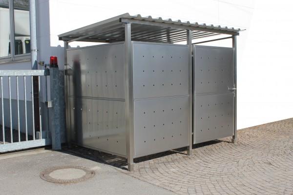 Mülltonnenhaus mit Edlestahlverkleidung 270 x 180 cm