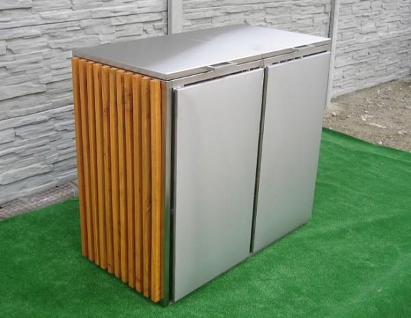 Mülltonnenbox aus Holz und Edelstahl 2x 120 / 240 Liter
