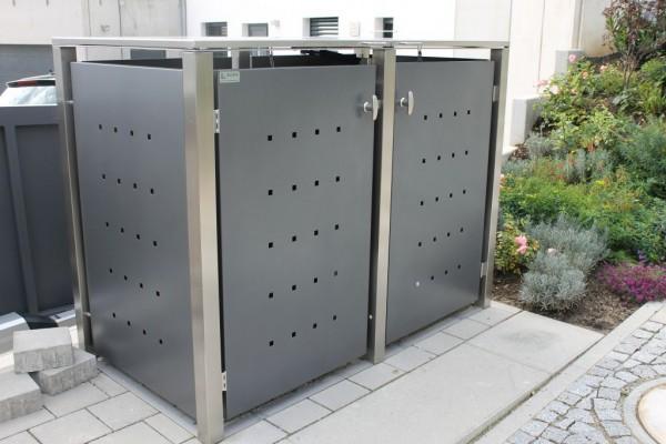 m lltonnenbox edelstahl anthrazit vierkantpfosten 120 o 240 liter m lltonnen. Black Bedroom Furniture Sets. Home Design Ideas