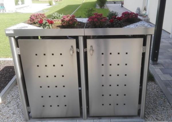 Mülltonnenbox Edelstahl Rundpfosten 2x 120 / 240 Liter