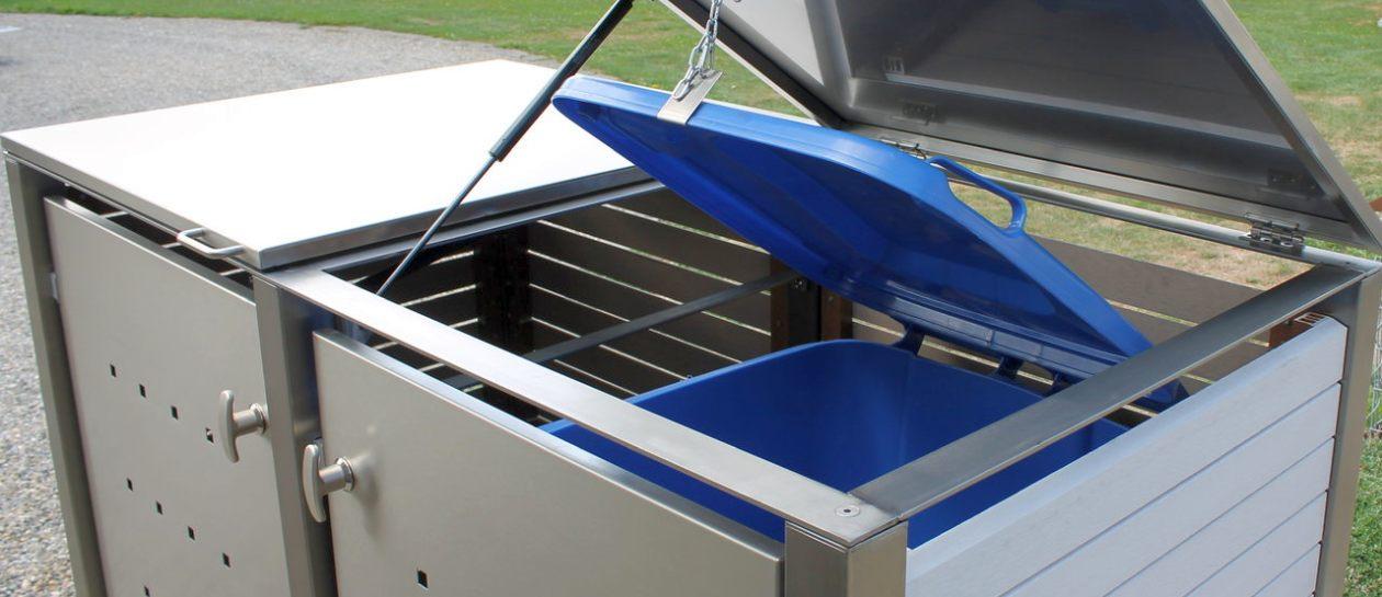 Mülltonnenbox aus Edelstahl mit Kunststoffverkleidung - RESORTI