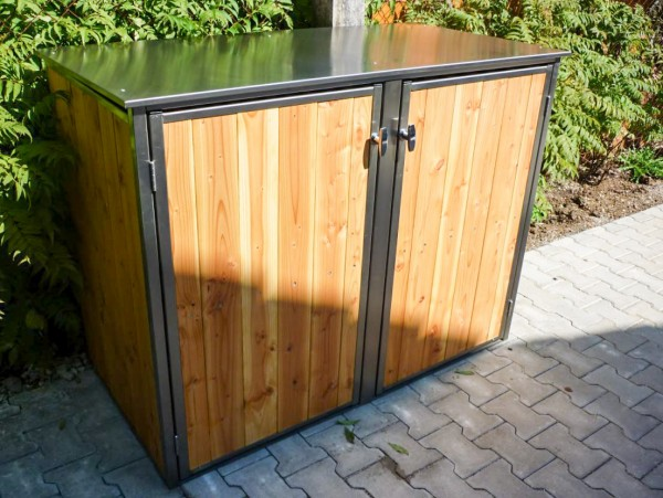 2er Mülltonnenbox aus Edelstahlrahmen mit Lärchenholz