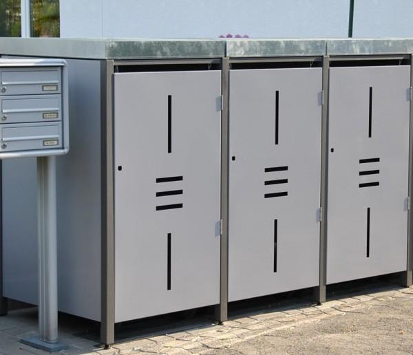3er Müllbox Metall 240 Liter Linea