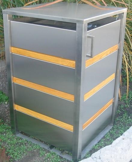 Mülltonnenbox Wooden Inox 1x 120 / 240 Liter