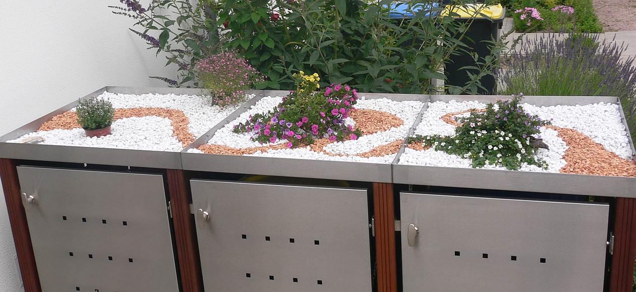 Pflanzdach einer 3er-Mülltonnenbox - RESORTI