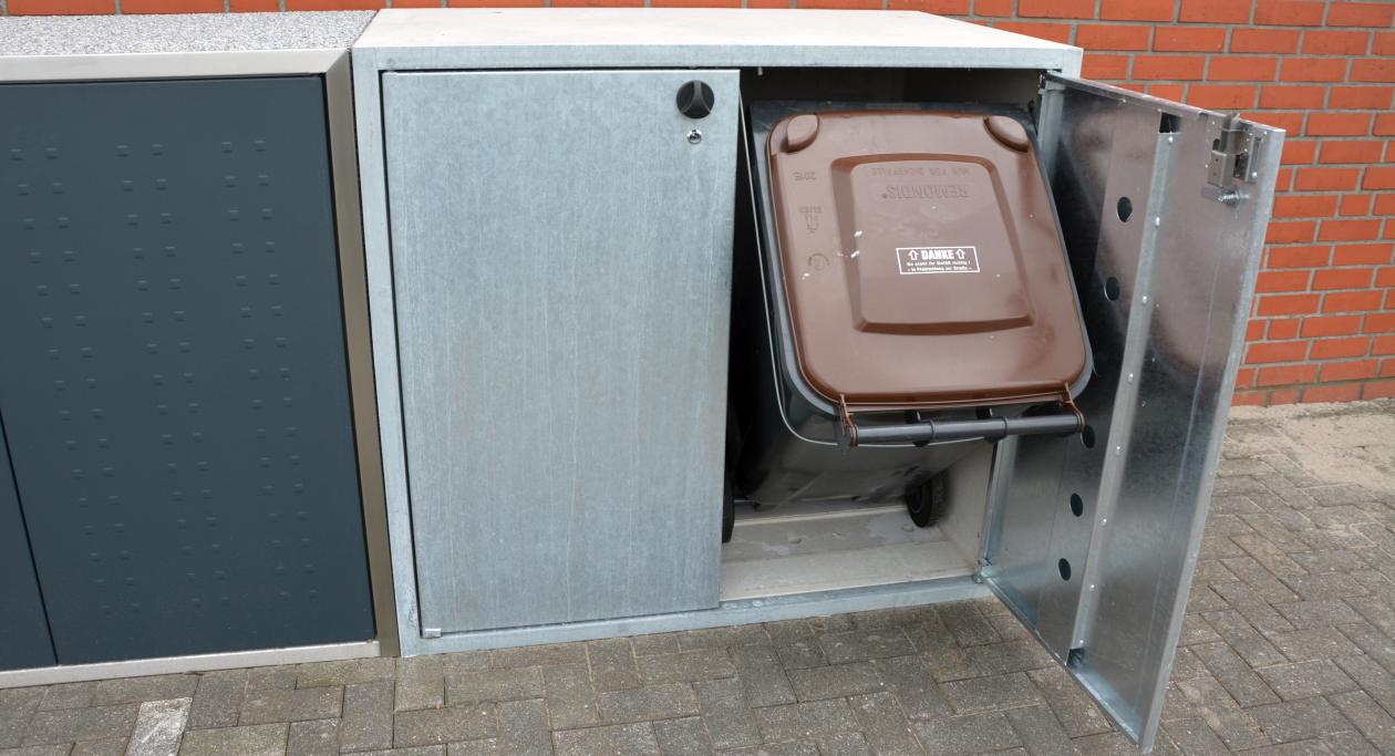 Kippvorrichtung einer Beton-Mülltonnenbox - RESORTI