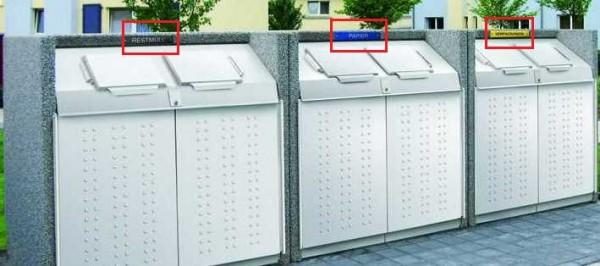 Kennzeichnungsschild aus Metall für Paul Wolff Containerboxen
